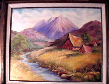 barn in  the mts. with a stream